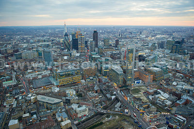 Aerial view of the City at dusk, London