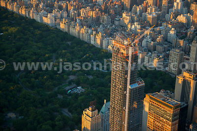 Aerial view of One57, a skyscraper currently under construction at 157 West 57th Street in Midtown Manhattan. When completed,...