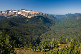 Twin Sisters Range, a chunk of the earth's mantle, rising above North Fork Nooksack River valley, viewed from Park Butte Look...