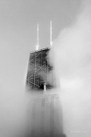 JOHN HANCOCK TOWER IN THE CLOUDS CHICAGO BLACK AND WHITE VERTICAL