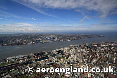 aerial photograph of  Liverpool  Merseyside UK