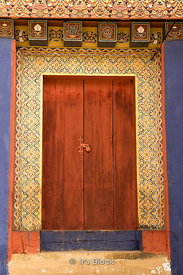 Traditional door on a building in Phobjikha, Bhutan.
