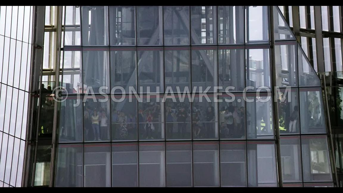 Aerial footage of a View from the Shard, the Shard, London.