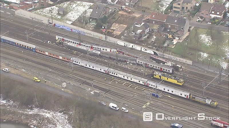 Wreckage of colliding commuter trains in Belgium  FOR EDITORIAL USE ONLY