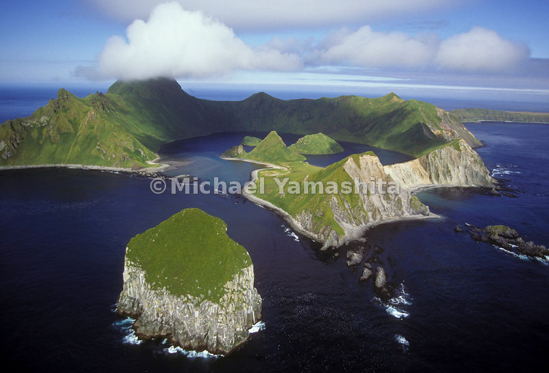An aerial view of Yankicha Island, part of the Kuril Islands in Russia.