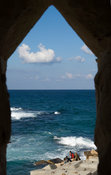 view from Qaitbay Fort on the island of Pharos on the Mediterranean coast, Alexandria, Egypt