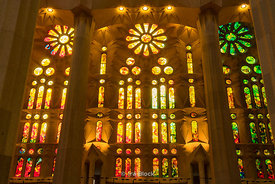 The interiors of Sagrada Família church in Barcelona, Spain