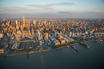 Aerial view across Manhattan, New York City