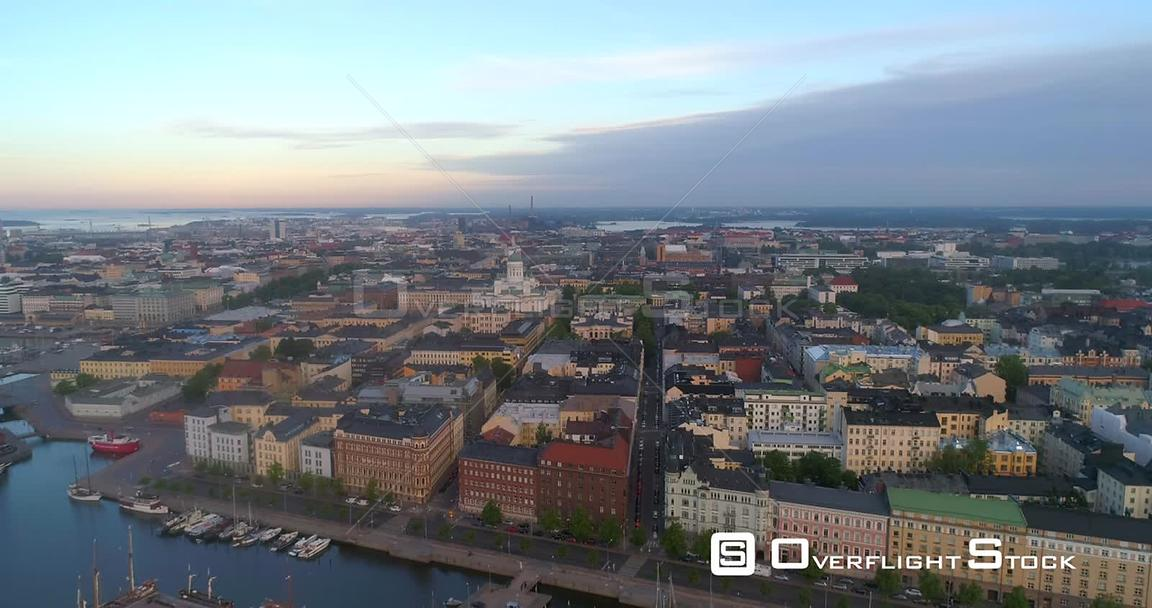 Sunrise Cityscape, Aerial Sideway View of Kruununhaka Area and  the Helsinki Cathedral, in Helsingfors City, on a Sunny Summe...