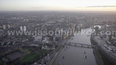 Aerial footage of Lambeth and Vauxhall, London