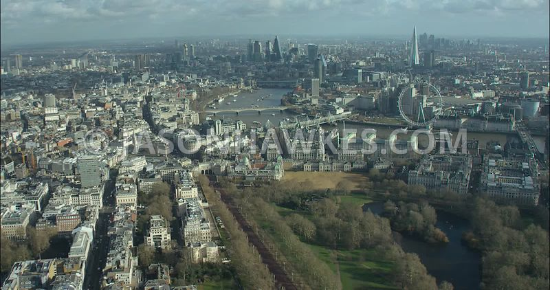 London Aerial footage, St James's Park towards Trafalgar Square.
