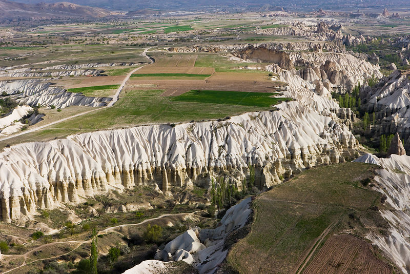 Aerial photograph of the Tufa rock formations and landscape near Goreme, Cappadocia, Anatolia, Turkey, 2008
