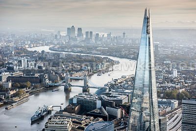 The Shard, River Thames and Tower Bridge, London.