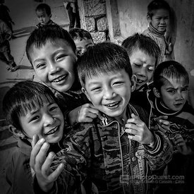 Young Vietnamese Boys Outside School