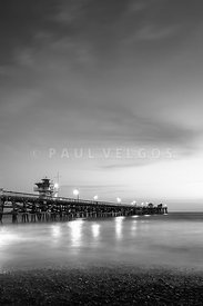 San Clemente Pier at Night Black and White Photo