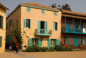 Colonial houses on the waterfront, Gorée Island, Senegal