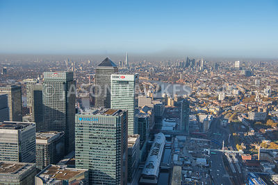 Aerial view of Canary Wharf and India Quay looking West. London