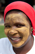 Xhosa Woman with face mask, Knysna, Western Cape, South Africa