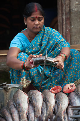 A woman prepares fish at Newmarket, Kolkata, India.