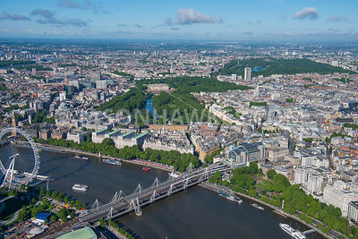 Aerial view of River Thames towards Buckingham Palace and St James's Park
