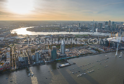 Aerial view of Greenwich Peninsula (London). London.  Greenwich.