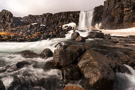 Waterfalls at the Thingvellir National Park on the east of Reykjavik in Iceland.