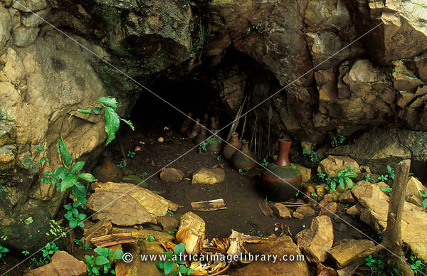Shrine where offerings are made at Ssezibwa falls, spiritual Buganda site used for traditional healing and royal retreat. nea...