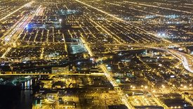 Bird's Eye: Close Up View of Chicago's Urban Light Grids & Snaking Paths of Expressways 1