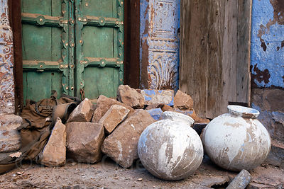 Ceramic jugs outside a house in Jodhpur, Rajasthan, India