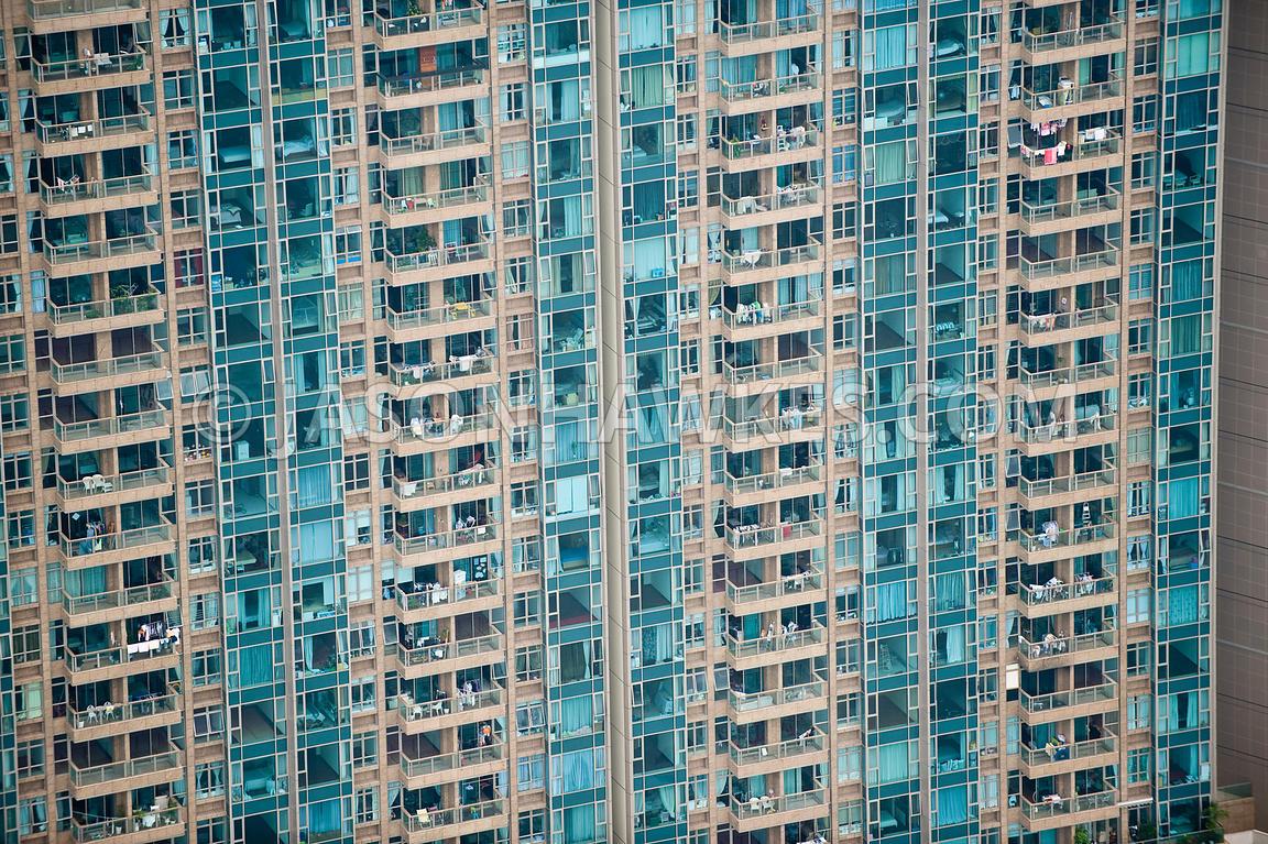Aerial View. Apartment Blocks in Hong Kong . Jason Hawkes