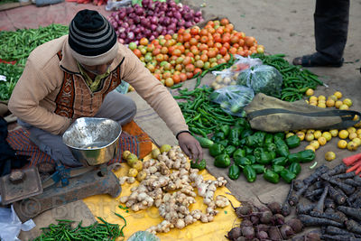 Vegetable market in the Chandi Chowk area of Old Delhi, India