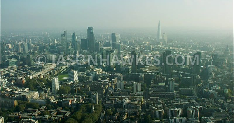London Aerial Footage of The Barbican.