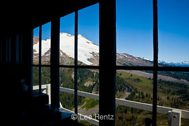 View from inside Park Butte Lookout toward Mt. Baker, Mt. Baker Wilderness, Mt. Baker–Snoqualmie National Forest, Washington,...