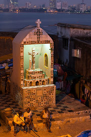 A Christian altar in the small fishing village of Worli, Mumbai, India. The village is home to Hindus, Muslims, and Christians.