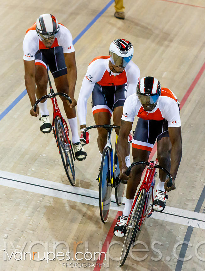 Men's Team Sprint Qualification, Track Day 1, Toronto 2015 Pan Am Games, Milton Pan Am/Parapan Am Velodrome, Milton, On; July...