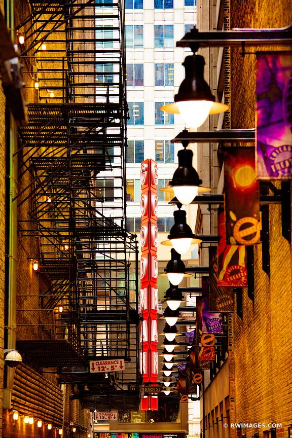 DOWNTOWN ALLEY GOODMAN THEATRE NEON SIGN CHICAGO ILLINOIS COLOR VERTICAL