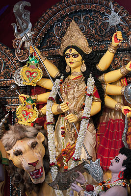 Detail of a Durga Puja idol in a pandal near Kumartoli, Kolkata, India.