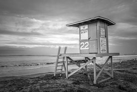 Newport Beach CA Lifeguard Tower 22 Black and White Photo