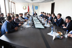 Officials during the Final Tournament - Final Four - SEHA - Gazprom league, Meeting with the mayor of Brest in Brest, Belarus...