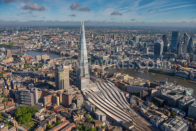 Aerial view of London The Shard and Financial Buildings