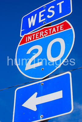 Interstate 20 Texas Highway Sign (arrow pointing left)