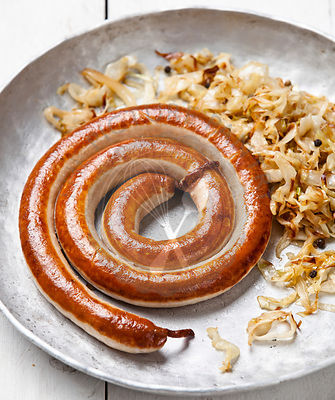Roasted sausage with stewed cabbage