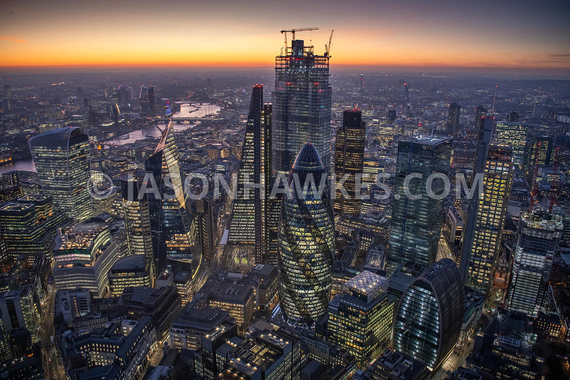 Dusk aerial view of the City of London. 20 Fenchurch St, 22 Bishopsgate, City of London, Dusk, london, night, Scalpel, Skylin...