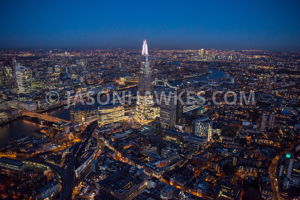 Aerial view of London, Southwark and Borough, River Thames towards 20 Fenchurch Street at night