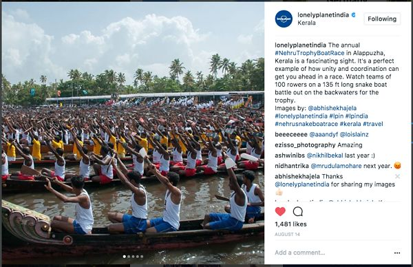 Lonely Planet official Instagram page; Nehru Thophy Boat Race; August 2017