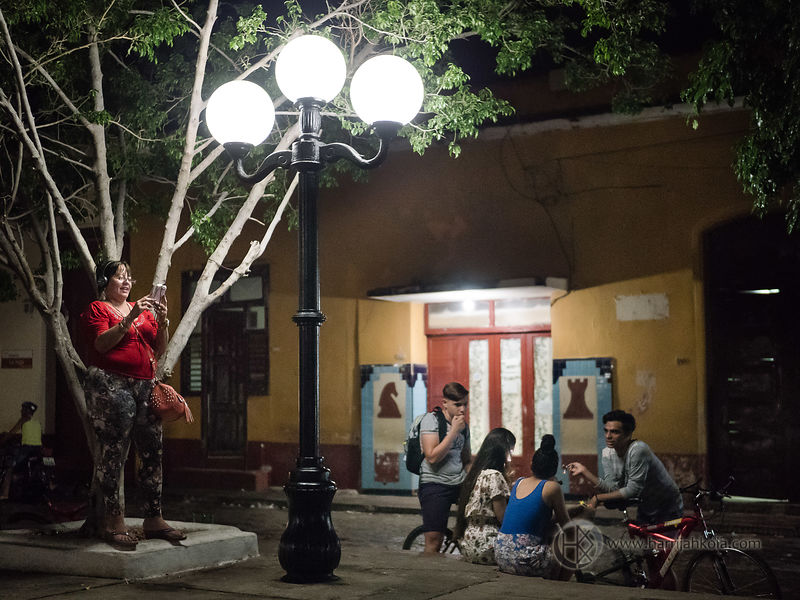 Cuba - Trinidad (Outdoor Internet Cafe At Night II)