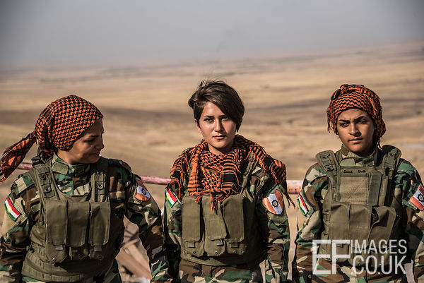 PAK (Kurdistan Freedom Party) female fighters, a mother, daughter and aunty, at their base north of Hawija, where Kurdish Ira...