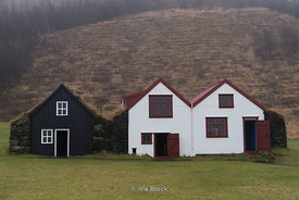 Houses in the Skogar Museum on the Southern coast of Iceland