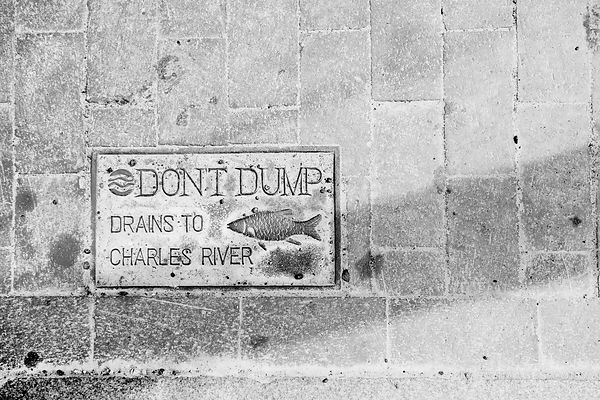 DON'T DUMP DRAINS TO CHARLES RIVER BOSTON MASSACHUSETTS BLACK AND WHITE