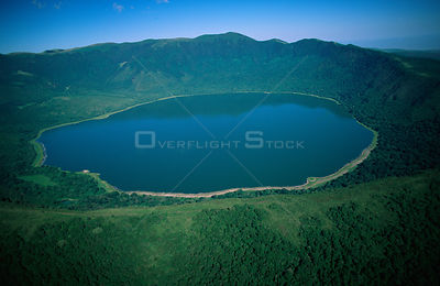 Aerial view of Embagai crater, Tanzania.